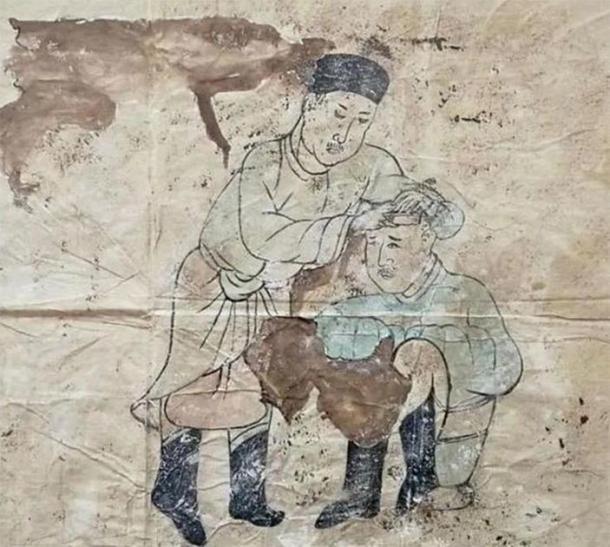 Un mural de la vida cotidiana de Kitan: cortar el cabello. (CFTV)