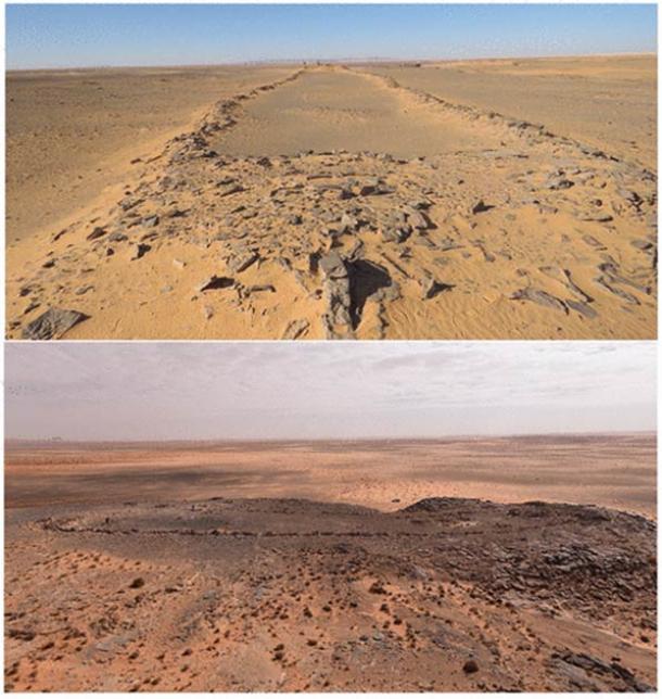 Dos de los mustatilos encontrados en el desierto de Nefud (Groucutt et al. / El Holoceno)