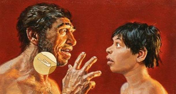 Representación del hueso hioide en un Neandertal. Fuente de la imagen.