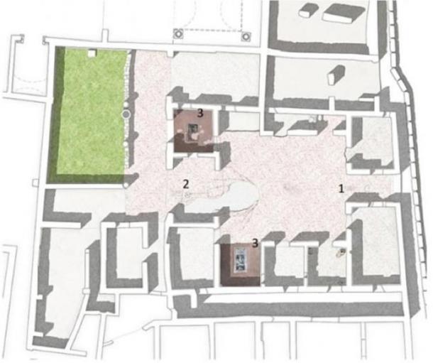 Las nuevas imágenes se han ubicado en pisos de concreto en los pavimentos de la Casa de Orión en la antigua ciudad de Pompeya, marcadas con 1 y 2. (L. Ferro, G Magli, M. Osanna)