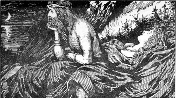 El deseo del mar de Njörd (1908) por WG Collingwood (dominio público)