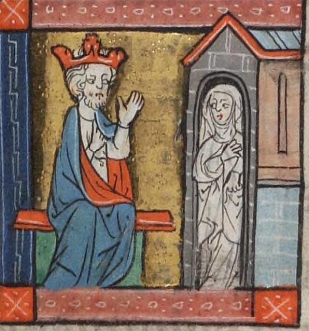 Un rey consulta a una anacoreta. Beinecke MS 404 (Cánticos Rothschild), Biblioteca de Yale