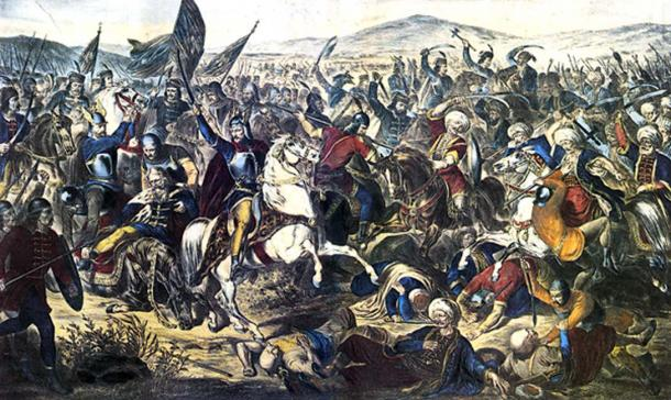 Pintura de la batalla de Kosovo con los húsares alados. (Hohum / Dominio Público)