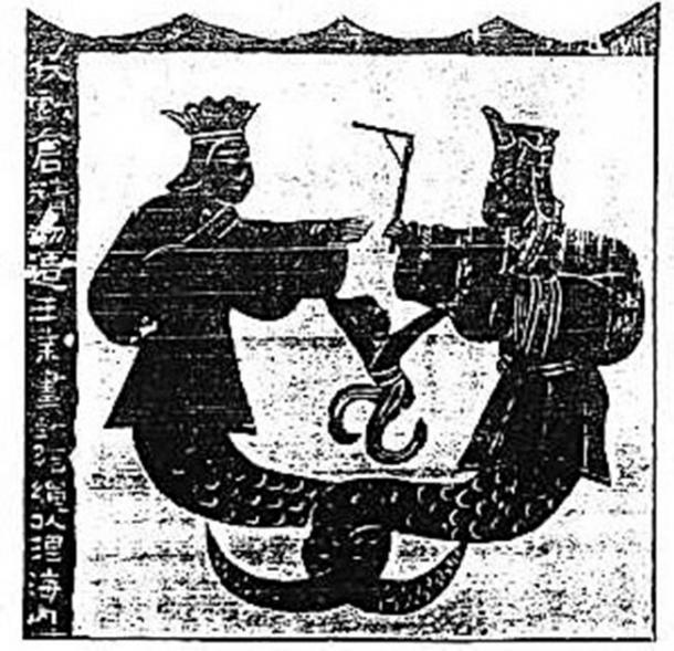 Nuwa y Fuxi representados en murales chinos de los santuarios de Wu Liang, dinastía Han (206 aC - 220 dC). (Miuki / Dominio público)