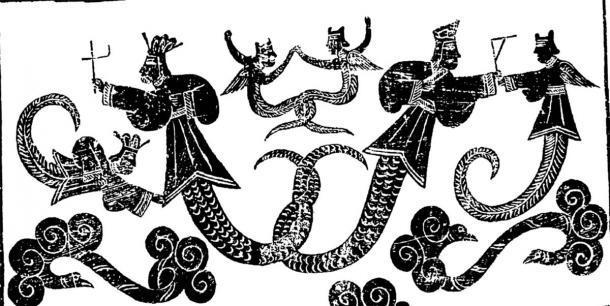 """Nuwa y Fuxi, dos de los """"Tres Gobernantes Divinos"""". (Guss / Dominio público)"""