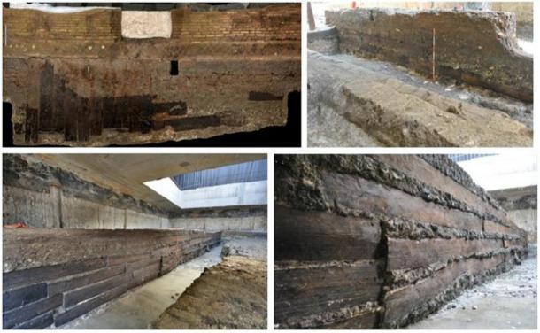 Tablones de roble desenterrados en los cimientos, mostrando su preservación (Bernabei en al., 2019 / PLOS ONE)