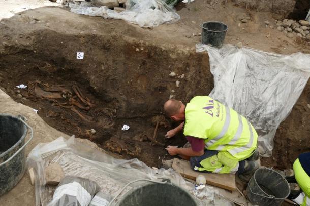 Los arqueólogos trabajan en el esqueleto de un caballo que se encuentra en el lugar de entierro de un barco vikingo. (Arkeologerna)