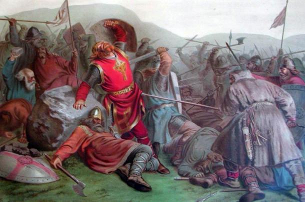 Olaf Haraldsson fue canonizado poco después de su muerte en la Batalla de Stiklestad en 1030 DC (dominio público)