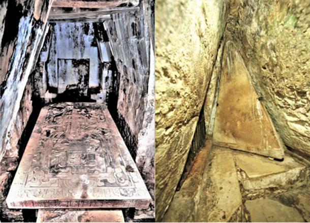 A la izquierda - La cripta de Pakal. A la derecha - La puerta de la cripta. (© georgefery.com/ Autor suministrado)