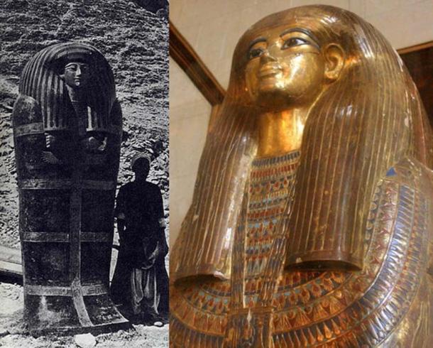 El gran ataúd exterior de Yuya descubierto en 1905 (dominio público) y el tercer ataúd interno dorado de Tuya (Hans Ollermann / CC BY 2.0) de la tumba KV46 en el Valle de los Reyes.