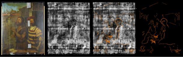 La pintura de Juan el Bautista y belén visible con la radiografía. (Universidad de Northumbria)