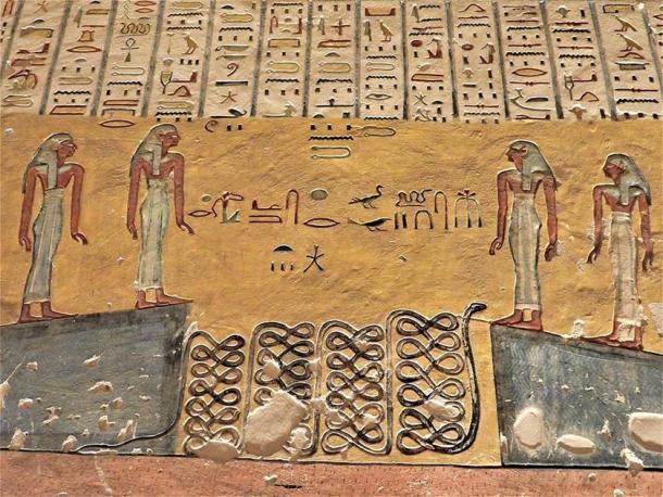 Pintura del Amduat, 5ta hora, Tumba de Ramsés IV (KV-2), que muestra el agua dividida en dos paredes. (Museo de Egipto)