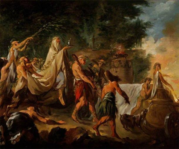Pintura del siglo XVIII de una ceremonia druida de Noël Hallé. (Dominio público)