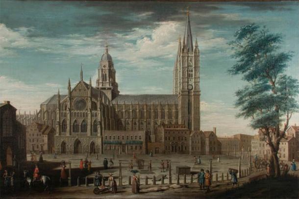 Sección de la pintura de la Abadía de Westminster de Pietro Fabris, que representa la Gran Sacristía en su centro. (Imagen: Abadía de Westminster)