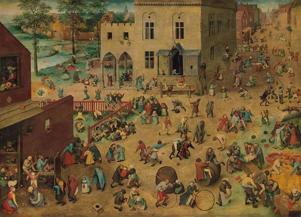 """La pintura llamada """"Juegos infantiles"""" del siglo 16, que representa a los niños jugando juntos durante la época medieval. (Pieter Bruegel el Viejo / Dominio público)"""