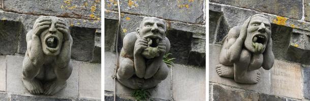 """12 gárgolas de la abadía de Paisley fueron reemplazadas en 1991. El conjunto incluye """"no ver mal"""", """"no hablar mal"""", """"no escuchar mal"""" y la gárgola alienígena. Colin / CC BY-SA 3.0"""