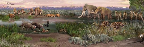 Arriba: Panorama de Alkali Flats en el Parque Nacional White Sands en Nuevo México durante los tiempos actuales. (Footwarrior / CC BY-SA 3.0). Abajo: una pintura de paisaje paleontológico que muestra mamíferos de la Edad de Hielo ahora extintos que vagaban por el área del Parque Nacional White Sands durante el final de la Última Edad de Hielo, incluidos mamuts, perezosos terrestres, lobos, camelops y más. (Dominio publico)