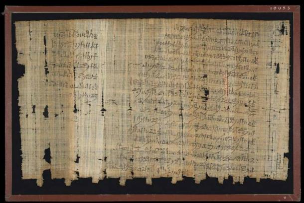 La parte posterior de una carta egipcia antigua conocida como 'Papyrus Salt 124'. (Los Fideicomisarios del Museo Británico / CC BY NC SA 4.0)