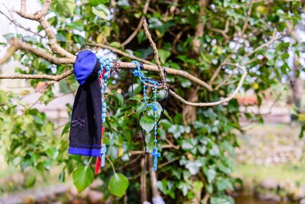 Para obtener buena suerte, las personas atan tiras de telas y cuentas alrededor de las ramas de los árboles de hadas. (Stephen / Adobe)
