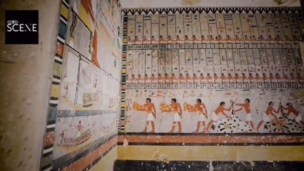 Paredes pintadas de colores brillantes en la tumba de 4300 años descubierta en Egipto. Crédito: Captura de pantalla del video del Ministerio de Antigüedades.