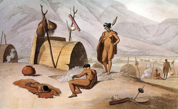 """Khoisan participan asando saltamontes en parrillas"" (título de 1989) aguatinta de 1805 por Samuel Daniell. (Dominio publico)"