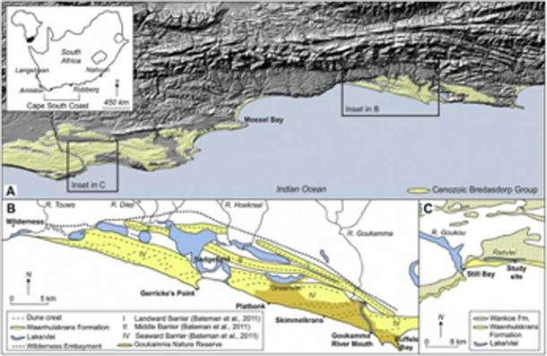 Patrones antiguos en la arena en Ciudad del Cabo, Sudáfrica. (Science Direct)
