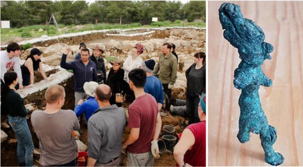 Izquierda: solo unos minutos después de que se descubre un sello entre la tierra en el sitio de excavación de Ziklag, Saar Ganor de la Autoridad de Antigüedades de Israel sostiene el precioso artefacto para que el equipo lo vea. (Universidad de Macquarie) Derecha: Estatua que golpea: La figura parcialmente intacta usa un sombrero alto y habría levantado el brazo derecho y el otro brazo extendido al frente, posiblemente sosteniendo un arma como una lanza. (La Universidad Hebrea de Jerusalén)