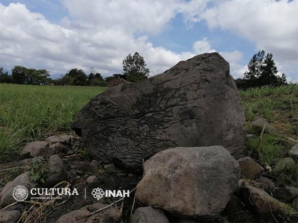 Petroglifo usado como 'mapa de piedra' hace más de dos mil años, en Colima. (Rafael Platas Ruiz / INAH-Colima)