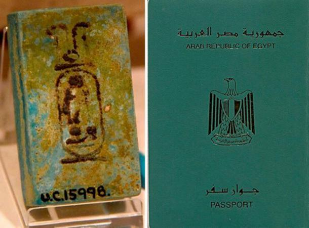 Izquierda: pieza de fayenza azul que muestra el cartucho del faraón Ramsés II. Inscrita en tinta. XIX dinastía. Desde Kurna (Qurna, Qurnah), Egipto. El Museo Petrie de Arqueología Egipcia, Londres. (Osama Shukir Muhammed Amin FRCP (Glasg) / CC BY SA 4.0 ) Derecha: Cubierta del pasaporte egipcio. ( Dominio publico )
