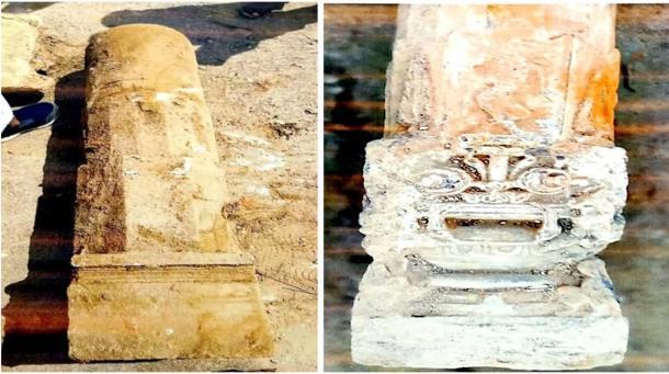 Dos pilares excavados en el sitio de Ayodhya. (Shri Ram Janmbhoomi Teerth Kshetra Trust)