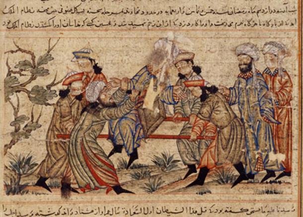 Pintura del siglo XIV del exitoso asesinato de Nizam al-Mulk, visir del Imperio Seljuq, por un antiguo asesino de los Hashashins. A menudo se considera su asesinato el más significativo. (Bahatur / Dominio Público)