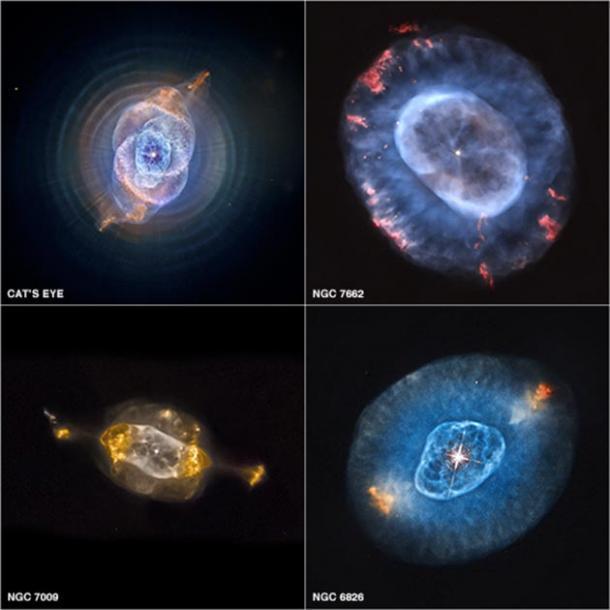 Cuatro nebulosas planetarias diferentes del catálogo NGC. (Jcpag2012 / Dominio público)