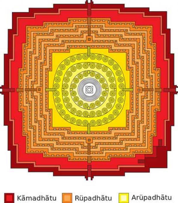 Plano de Borobudur en forma de Mandala (CC BY-SA 3.0)