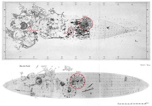 Planos de excavación de los dos entierros de barcos que contienen los edredones de plumas. Los elementos en un círculo en la imagen superior incluyen Izquierda: huesos de búho. Medio: casco. Derecha: Escudo I y un escudo en la imagen inferior. (Berglund y Rosvold, Revista de Ciencias Arqueológicas: Informes, 2021)
