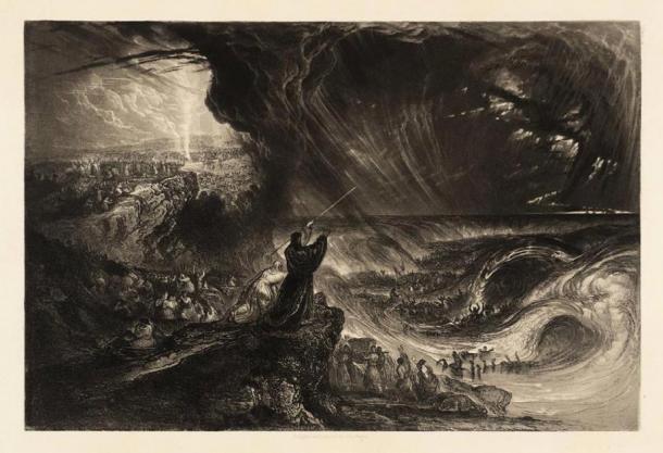 """Placa de """"Ilustraciones para la Biblia"""" - """"La destrucción de la Hostia del Faraón"""", por John Martin (1833), utilizando la técnica Mezzotint. (TATE)"""