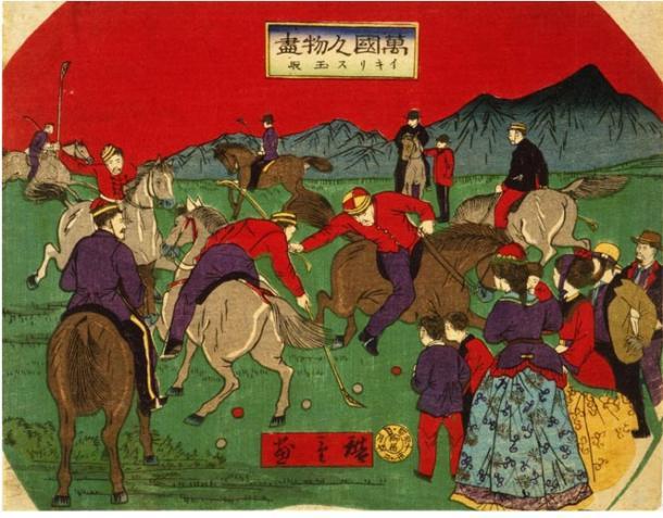 El Polo se extendió por toda Asia y finalmente a Occidente (grabado japonés de la Biblioteca del Congreso estadounidense