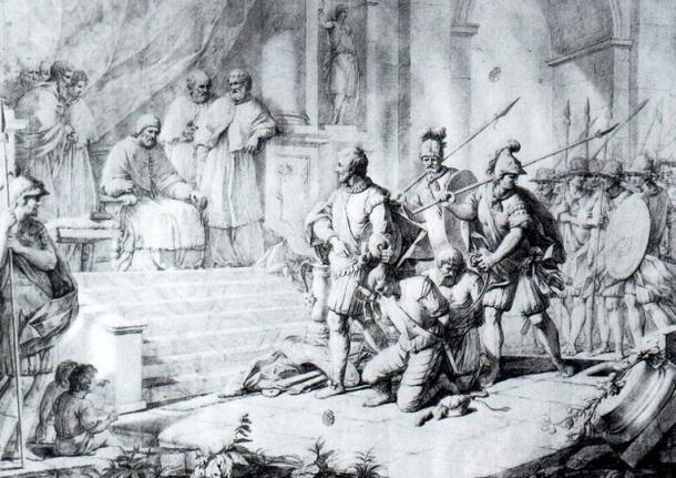 El Papa Alejandro VI impartiendo justicia en la obra de Zacarías González Velázquez. (Dominio público)