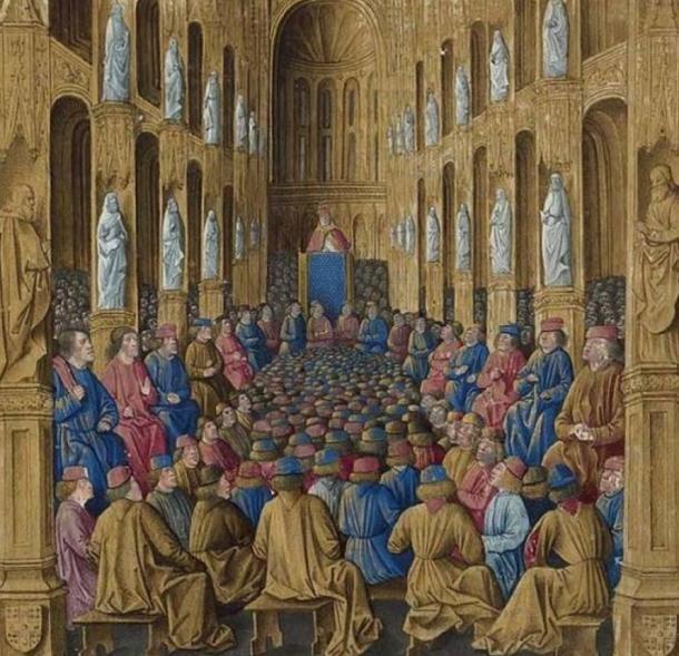 """El Papa Urbano II predica en el Concilio de Clermont. Sébastien Mamerot, """"Les passages d'outremer"""" (Dominio público)"""