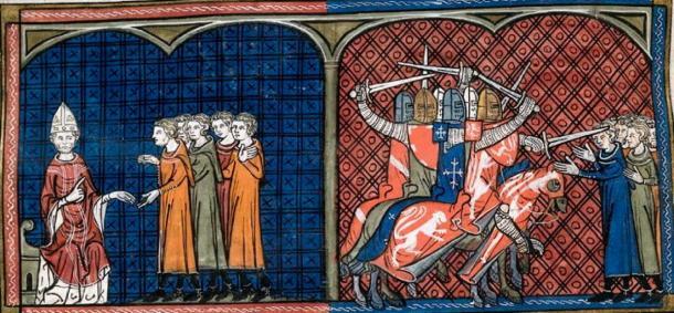 Papa Inocencio III excomulgando a los albigenses (izquierda), masacre de los albigenses por los cruzados (derecha). (Rolling Bone / Public Domain)