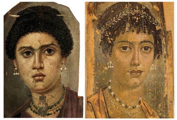 Otros dos retratos de momias de Fayum que muestran exactamente los mismos pendientes que el encontrado por arqueólogos en Bulgaria. (Izquierda: dominio público; derecha: dominio público)