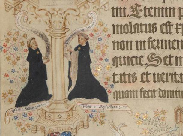 Retratos de John Whas, el escriba, y John Siferwas, el artista del Misal Sherborne, en la página del Día de Pascua: agregue MS 74236, p. 216 (detalle). (Dominio público)