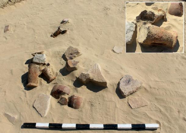 Fragmentos de cerámica encontrados en el antiguo sitio de reciclaje. (UAE)