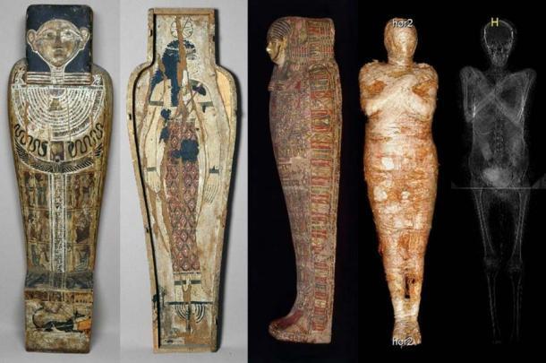 La momia embarazada fue identificada por rayos X y tomografía computarizada. Fuente: Journal of Archaeological Science