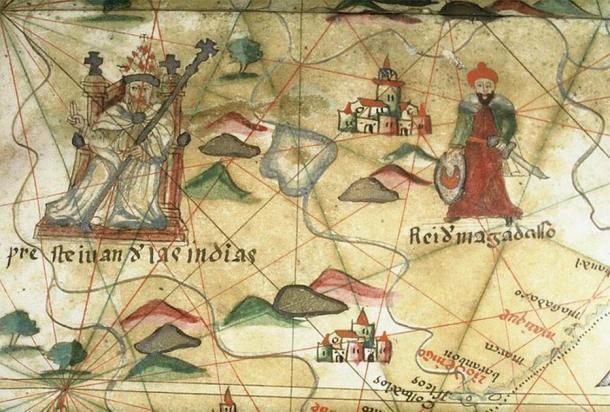 Prester John de las Indias. Primer plano de un gráfico portolano. (Las bibliotecas Bodleian, Oxford / CC BY 4.0)