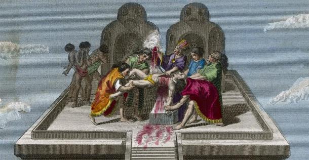 Los sacerdotes de Tenochtitlan sacrifican a las víctimas de sus dioses. Fecha: circa 1500. Crédito: Archivist / Adobe Stock