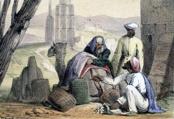 Impresión mostrando el dinero de concha de cowrie utilizado por un comerciante árabe. (Andy King50 / Dominio público)