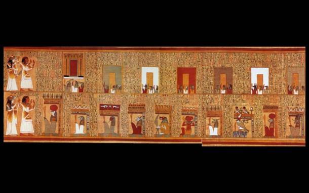 """Dos 'hechizos de puerta'. En el registro superior, Ani y su esposa se enfrentan a las """"siete puertas de la Casa de Osiris"""". A continuación, se encuentran con 10 de los 21 'misteriosos portales de la Casa de Osiris en el Campo de Cañas'. Todos están protegidos por protectores desagradables. Del libro de los muertos. (La tierra / dominio público)"""