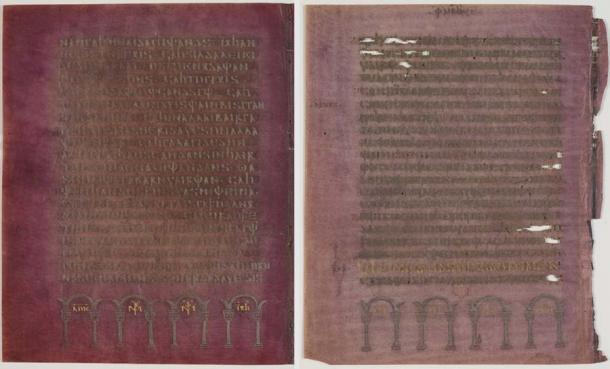 La calidad del manuscrito del Codex Argenteus es claramente evidente. El pergamino violeta está cubierto de tinta plateada y dorada. ( Magnus Hjalmarsson - Biblioteca de la Universidad de Uppsala / Dominio público)
