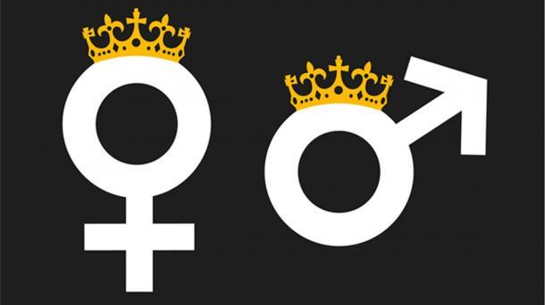 Reina y Rey como monarca con corona, símbolo de Matriarchy Society y Patriarchy Society: poder, autoridad y dominio basado en el género. Fuente: M-SUR / Adobe.