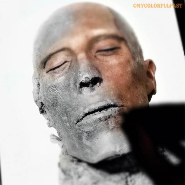 La reconstrucción del faraón Seti I utilizando la tecnología de reconocimiento facial. (Cortesía de Matt Loughrey / My Colorful Past)